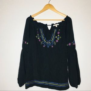 Cache LUX Womens Peasant Top Blouse